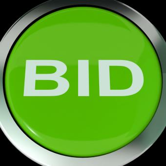 Free Stock Photo of Bid Button Shows Online Auction Or Bidding