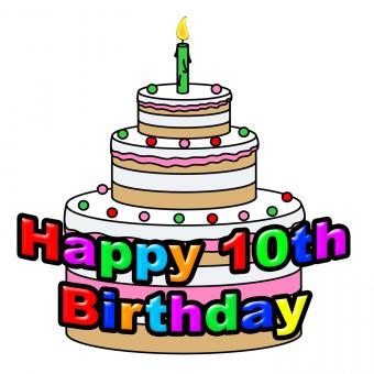 Free Stock Photo of Happy Tenth Birthday Means Greeting Celebration And Congratulating