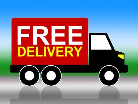 Free Stock Photo of Truck Delivery Represents With Our Compliments And Complimentary