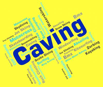 Free Stock Photo of Caving Words Shows Cave Climbing And Active