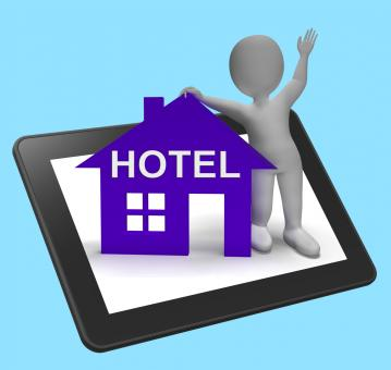 Free Stock Photo of Hotel House Tablet Shows Vacation Accommodation And Rooms