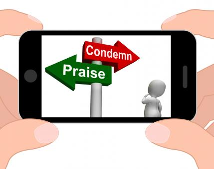 Free Stock Photo of Condemn Praise Signpost Displays Appreciate or Blame