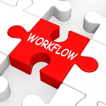 Free Stock Photo of Workflow Puzzle Shows Process Flow Or Procedure