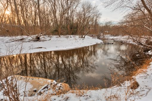 Free Stock Photo of Golden Winter Hour of Rock Creek - HDR