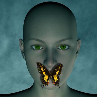 Free Stock Photo of 3D Woman with Butterfly over Mouth