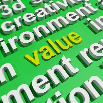 Free Stock Photo of Value In Word Cloud Shows Worth Importance Or Significance