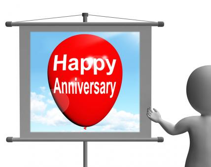Free Stock Photo of Happy Anniversary Sign Shows Cheerful Festivities and Parties