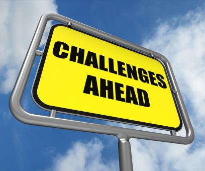 Free Stock Photo of Challenges Ahead Sign Shows to Overcome a Challenge or Difficulty