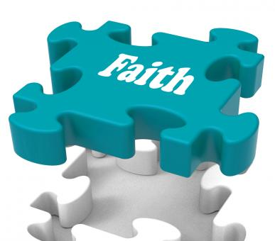 Free Stock Photo of Faith Jigsaw Shows Believing Religious Belief Or Trust