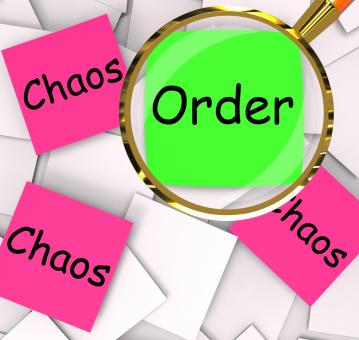 Free Stock Photo of Order Chaos Post-It Papers Mean Orderly Or Chaotic