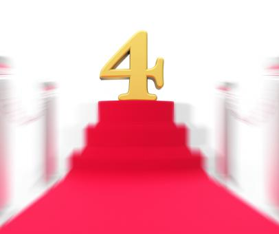 Free Stock Photo of Golden Four On Red Carpet Displays Elegant Film Event Or Celebration