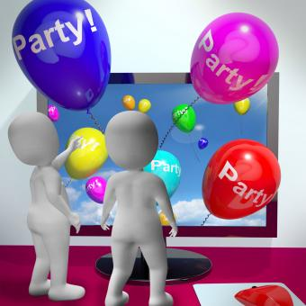 Free Stock Photo of Balloons With Party Text Showing Invitations Sent Online