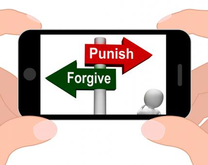 Free Stock Photo of Punish Forgive Signpost Displays Punishment or Forgiveness