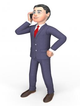 Free Stock Photo of Smartphone Businessman Means Call Now And Calling 3d Rendering