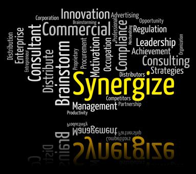 Free Stock Photo of Synergize Word Indicates Working Together And Collaborate