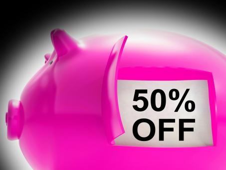 Free Stock Photo of Fifty Percent Off Piggy Bank Message Shows 50 Price Cut