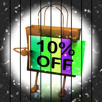 Free Stock Photo of Ten Percent Reduced On Bags Shows 10 Promotions