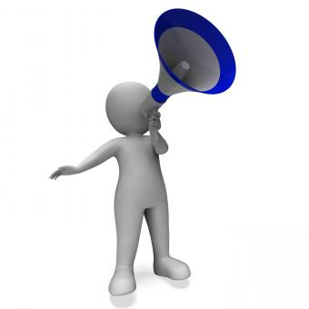 Free Stock Photo of Megaphone Message Character Shows Announcements Proclaiming And Announ