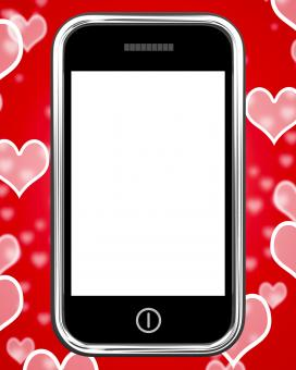 Free Stock Photo of Blank Smartphone Screen With Hearts Background