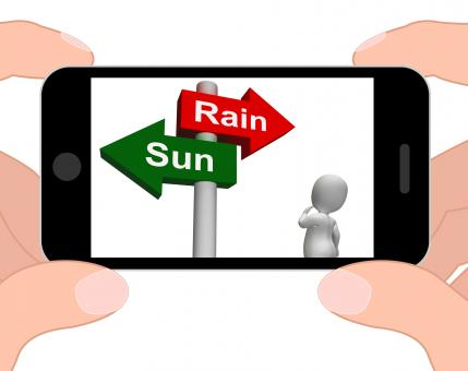 Free Stock Photo of Sun Rain Signpost Displays Weather Forecast Sunny or Raining