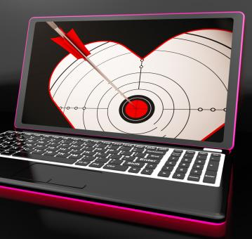 Free Stock Photo of Target Heart On Laptop Shows Flirting