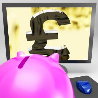 Free Stock Photo of Pound Symbol On Monitor Showing Kingdom Wealth
