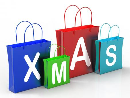 Free Stock Photo of Xmas Shopping Bags Show Retail Stores Or Buying