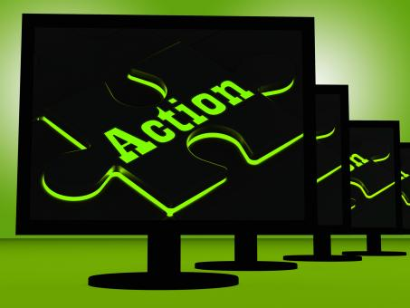 Free Stock Photo of Action On Monitors Showing Acting