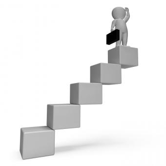 Free Stock Photo of Stairs Character Indicates Business Person And Achieve 3d Rendering