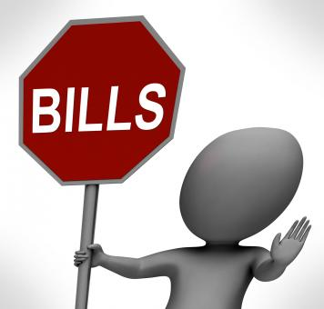 Free Stock Photo of Bills Red Stop Sign Means Stopping Bill Payment Due