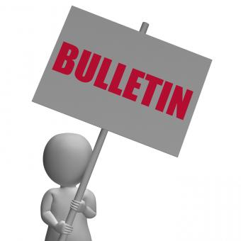 Free Stock Photo of Bulletin Protest Banner Shows Official Notification Or Notice board