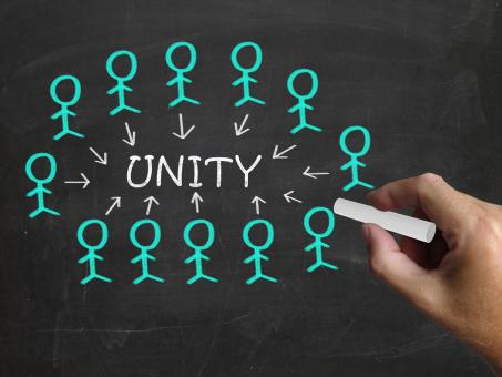 Free Stock Photo of Unity On Blackboard Shows Partner Unity Or Cooperation