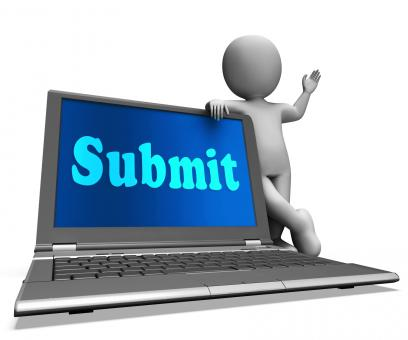 Free Stock Photo of Submit Laptop Shows Submitting Submissions Or Applications