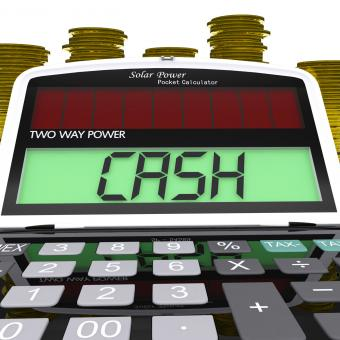 Free Stock Photo of Cash Calculator Means Finances Savings Or Loan