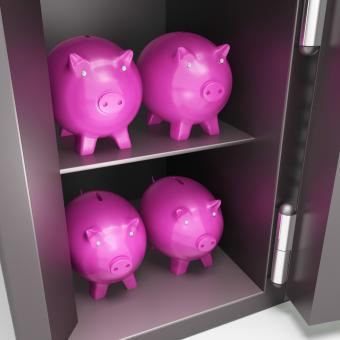 Free Stock Photo of Open Safe With Piggy Showing Safe Savings