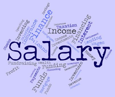 Free Stock Photo of Salary Word Means Wage Pay And Words