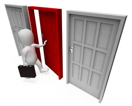 Free Stock Photo of Character Doors Shows Business Person And Path 3d Rendering