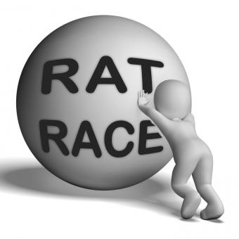 Free Stock Photo of Rat Race Uphill Character Shows Hectic Work Competition