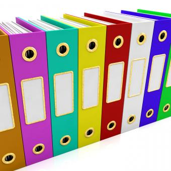 Free Stock Photo of Row Of Colorful Files For Getting Organized
