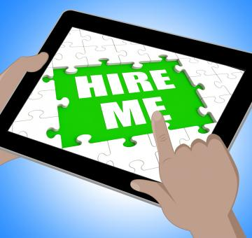Free Stock Photo of Hire Me Tablet Means Self Contracting Or Applying For Job