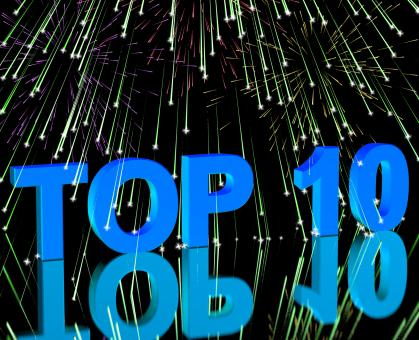 Free Stock Photo of Top Ten Word And Fireworks Showing Best Rated In Charts