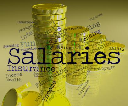 Free Stock Photo of Salaries Word Indicates Income Money And Pay