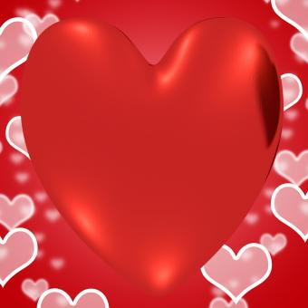 Free Stock Photo of Heart With Red Hearts Background Showing Loving And Romance