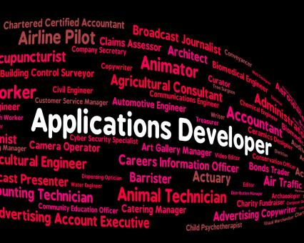Free Stock Photo of Applications Developer Shows Program Career And Softwares