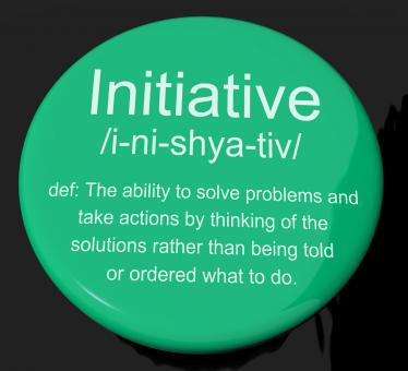 Free Stock Photo of Initiative Definition Button Showing Leadership Resourcefulness And Ac