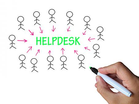 Free Stock Photo of Helpdesk On Whiteboard Means Customer Assistance Or Support