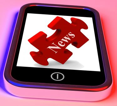 Free Stock Photo of News Smartphone Shows Read Or Watch Latest Updates On Web