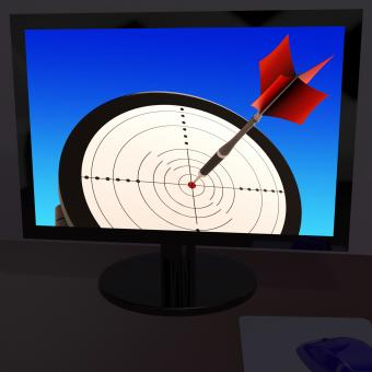 Free Stock Photo of Arrow Aiming On Monitor Showing Performance