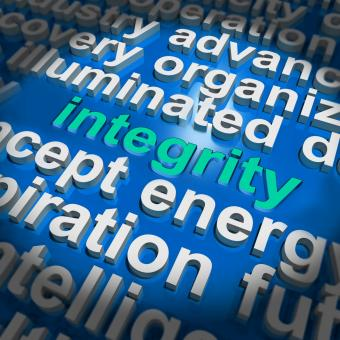 Free Stock Photo of Integrity Word Cloud Shows Honesty Morality And Trust
