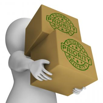 Free Stock Photo of Priority Stamp On Boxes Shows Rush And Urgent Services